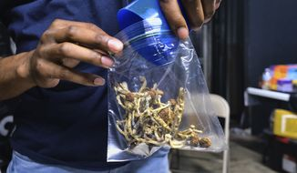 In this May 24, 2019, photo, a vendor bags psilocybin mushrooms at a pop-up cannabis market in Los Angeles. Voters in Oregon in November 2020 will decide on a measure that would legalize therapeutic, regulated use of psilocybin. The measure would require the Oregon Health Authority to allow licensed, regulated production and possession of psilocybin exclusively for administration by licensed facilitators to clients. (AP Photo/Richard Vogel) **FILE**