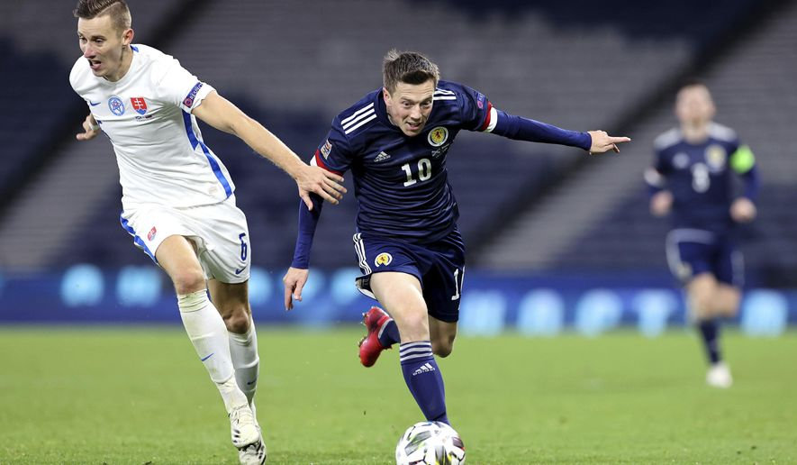 Scotland's Callum McGregor, right, and Slovakia's Jan Gregus battle for the ball during the UEFA Nations League soccer match between Scotland and Slovakia, at Hampden Park, in Glasgow, Scotland, Sunday, Oct. 11, 2020. (Steve Welsh/PA via AP)