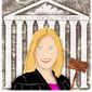 Illustration on Amy Coney Barrett by Alexander Hunter/The Washington Times