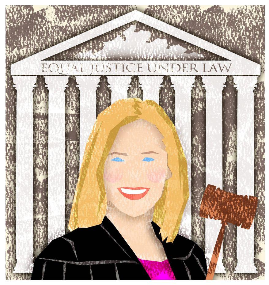 Illustration on Amy Coney Barrett by Alexander Hunter/The Washington Times