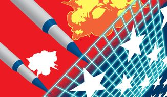 Illustration on defending against North Korean nuclear weapons by Linas Garsys/The Washington Times