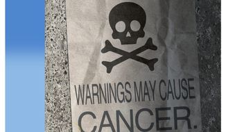 Illustration on cancer warnings by Alexander Hunter/The Washington Times