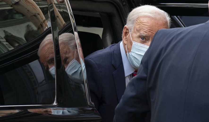Democratic presidential candidate former Vice President Joe Biden arrives at The Queen theatre in Wilmington, Del., Monday, Oct. 19, 2020. (AP Photo/Carolyn Kaster)