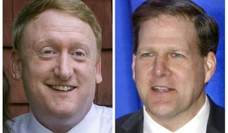 FILE - This pair of 2020 file photos shows Democrat challenger Dan Feltes, left, and Republican incumbent Gov. Chris Sununu, right, who are running for New Hampshire governor in the Nov. 3, 2020, general election. (AP Photos, File)