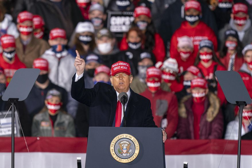 In this file photo, President Donald Trump speaks during a campaign rally at Southern Wisconsin Regional Airport, Saturday, Oct. 17, 2020, in Janesville, Wis. (AP Photo/Andy Manis) **FILE**