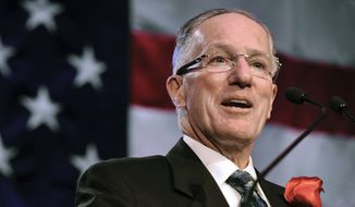 In this Dec. 12, 2011, file photo, Mike Emrick speaks after being inducted into the U.S. Hockey Hall of Fame in Chicago. Hall of Fame hockey broadcaster Mike Emrick is retiring after a career of almost 50 years behind the microphone, including the past 15 as the voice of the NHL in the United States. (AP Photo/Paul Beaty, File) **FILE**