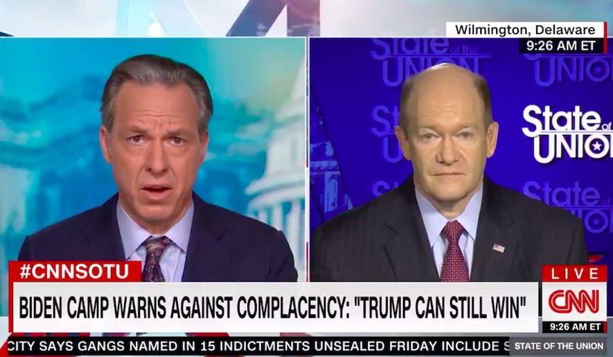 "CNN anchor Jake Tapper on Sunday ripped Joe Biden's campaigning efforts as ""opposite of the word tireless."" (Screenshot via CNN)"