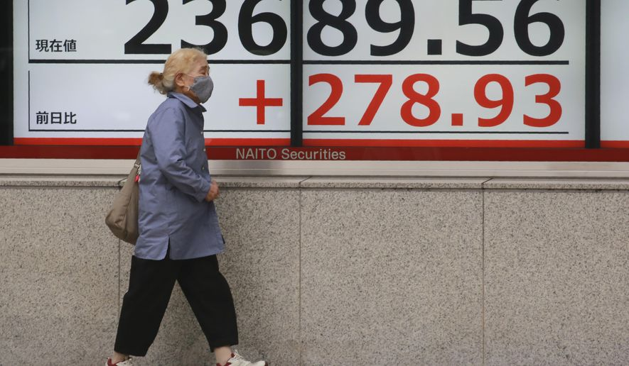 A woman walks by an electronic stock board of a securities firm in Tokyo, Monday, Oct. 19, 2020. Shares advanced in Asia on Monday after China reported its economy grew at a 4.9% annual pace in the last quarter, with consumer spending and industrial production rising to pre-pandemic levels. (AP Photo/Koji Sasahara)