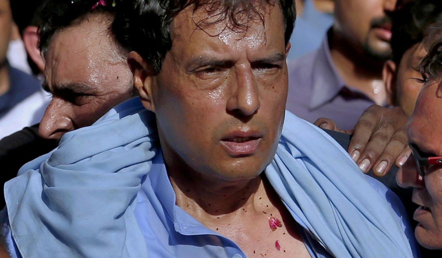 FILE - In this July 8, 2018 file photo, Mohammad Safdar, son-in-law of former Prime Minister Nawaz Sharif leads a rally in Rawalpindi, Pakistan. Pakistani police arrested Safdar on Monday, Oct. 19, 2020 after he led a crowd in chanting against the military at the tomb of the country's founder. (AP Photo/Anjum Naveed, File)