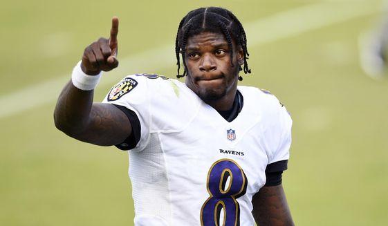 Baltimore Ravens' Lamar Jackson reacts as he walks off the field after winning an NFL football game against the Philadelphia Eagles, Sunday, Oct. 18, 2020, in Philadelphia. (AP Photo/Derik Hamilton)   **FILE**