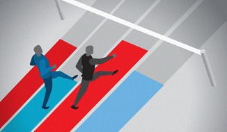 Illustration on the presidential race by Linas Garsys/The Washington Times