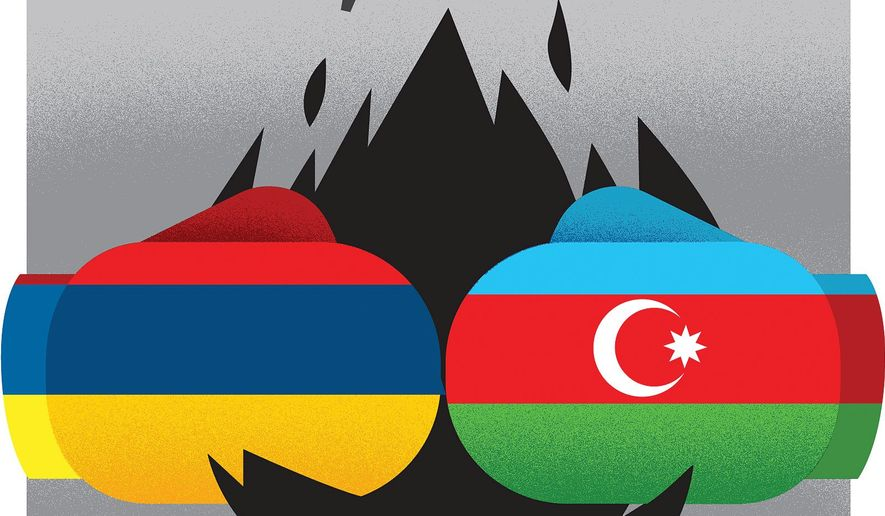Halting the conflict between Armenia and Azerbaijan illustration by The Washington Times