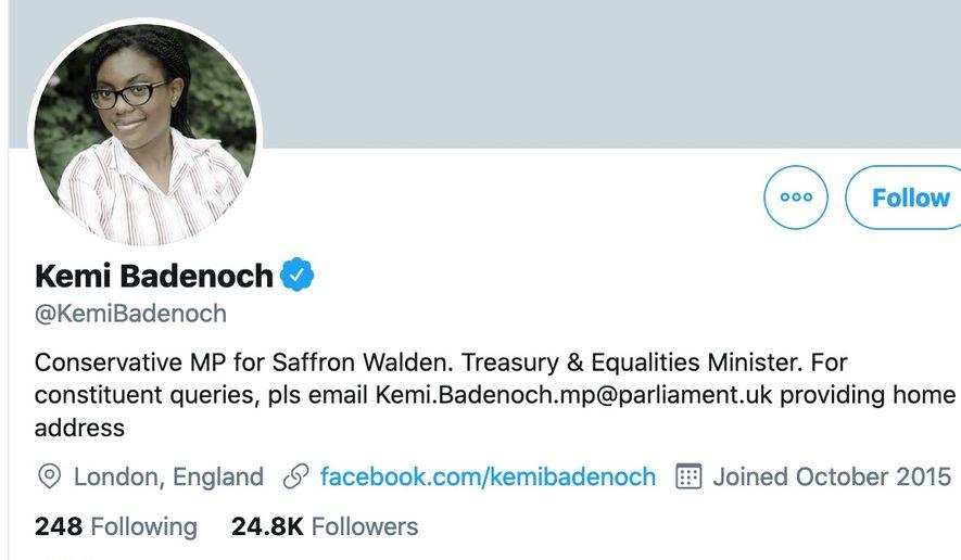 Kemi Badenoch, Conservative MP for Saffron Walden, United Kingdom. (Image: Twitter Kemi Badenoch profile picture)