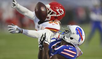 Kansas City Chiefs safety Juan Thornhill (22) breaks up a pass to Buffalo Bills' John Brown (15) during the first half of an NFL football game, Monday, Oct. 19, 2020, in Orchard Park, N.Y. (AP Photo/Jeffrey T. Barnes)