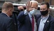 Democratic presidential candidate former Vice President Joe Biden waves as he arrives at The Queen theatre in Wilmington, Del., Monday, Oct. 19, 2020. (AP Photo/Carolyn Kaster)