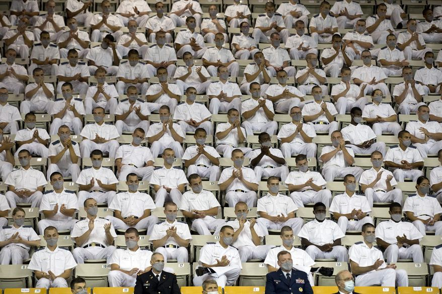 Virginia Military Institute cadets applaud during a speech by Vice President Mike Pence at Cameron Hall, Thursday, Sept. 10, 2020, in Lexington, Va. (Heather Rousseau/The Roanoke Times via AP) ** FILE **