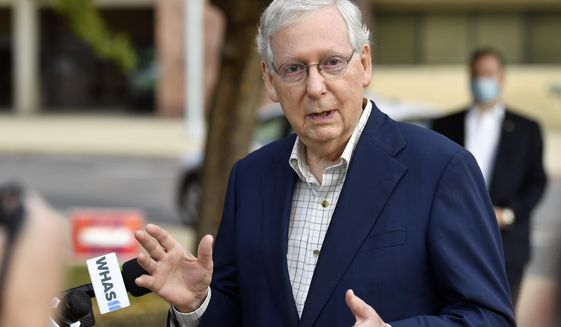 Senate Majority Leader Mitch McConnell, R-Ky., speaks to reporters after casting his vote in the 2020 general election at the Kentucky Exhibition Center in Louisville, Ky., Thursday, Oct. 15, 2020. (AP Photo/Timothy D. Easley)