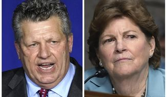 """FILE - This photo combo shows Republican Bryant """"Corky"""" Messner, left, and incumbent U.S. Sen. Jeanne Shaheen, D-NH, right, New Hampshire candidates for the U.S. Senate in the Nov. 3 general election. (AP Photos, File)"""