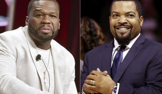 "Curtis ""50 Cent"" Jackson participates in the Starz ""Power"" panel at the Television Critics Association Summer Press Tour in Beverly Hills, Calif., on July 26, 2019, left, and BIG3 League founder Ice Cube at the debut of the BIG3 Basketball League in New York on June 25, 2017. An altered photo of the rappers in hats that appear to show support for President Donald Trump circulated widely on social media Tuesday, fueled in part by a tweet by Eric Trump. The manipulated image was shared thousands of times on Twitter and Facebook since it began gaining attention on Monday.  (AP Photo)"