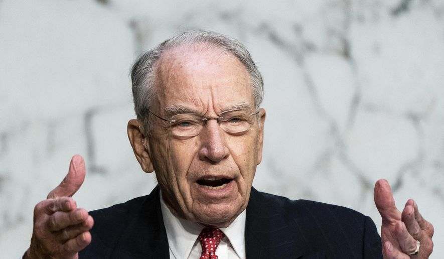 Sen. Chuck Grassley, R-Iowa, speaks during the confirmation hearing for Supreme Court nominee Amy Coney Barrett, before the Senate Judiciary Committee, Wednesday, Oct. 14, 2020, on Capitol Hill in Washington. (Erin Schaff/The New York Times via AP, Pool) ** FILE **