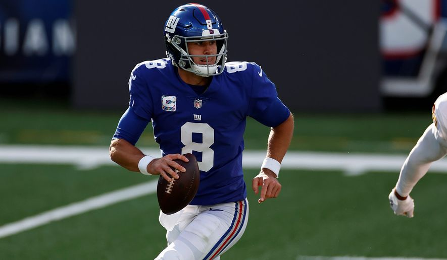 The 12 completions, 19 attempts and 112 yards passing by Giants quarterback Daniel Jones against Washington on Sunday were the lowest in 18 career starts. He faces the Eagles' Carson Wentz on Thursday. (ASSOCIATED PRESS)