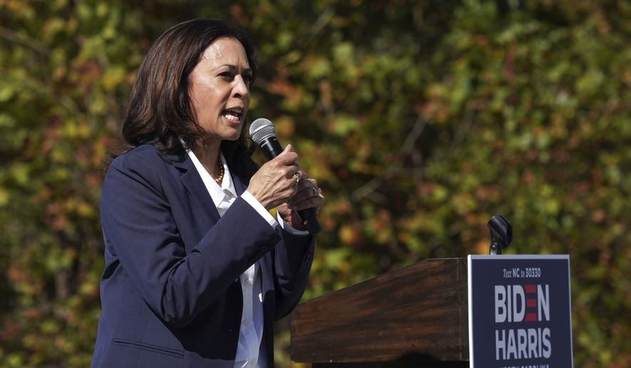 Democratic vice presidential candidate Sen. Kamala Harris, D-Calif., speaks to a group of supporters at UNC-Asheville, Wednesday, Oct. 21, 2020, in Asheville, N.C. (AP Photo/Kathy Kmonicek)