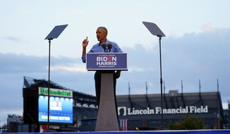 President Barack Obama speaks at Citizens Bank Park as he campaigns for Democratic presidential candidate former Vice President Joe Biden, Wednesday, Oct. 21, 2020, in Philadelphia. (AP Photo/ Matt Slocum)
