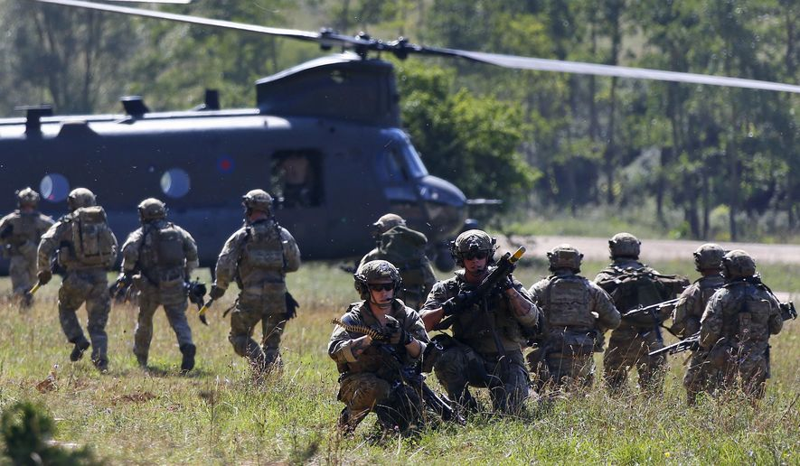 Soldiers take part in an exercise of the U.S. Army Global Response Force in Hohenfels, Germany.  (AP Photo/Matthias Schrader, File)
