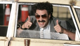 "In this Monday, Oct. 23, 2006, file photo, actor Sacha Baron Cohen arrives in character as Borat for the film premiere of ""Borat: Cultural Learnings of America for Make Benefit Glorious Nation of Kazakhstan,"" in the Hollywood section of Los Angeles. Cohen's sequel ""Borat Subsequent Moviefilm,"" will be released on Friday, Oct. 23. (AP Photo/Matt Sayles, File)"
