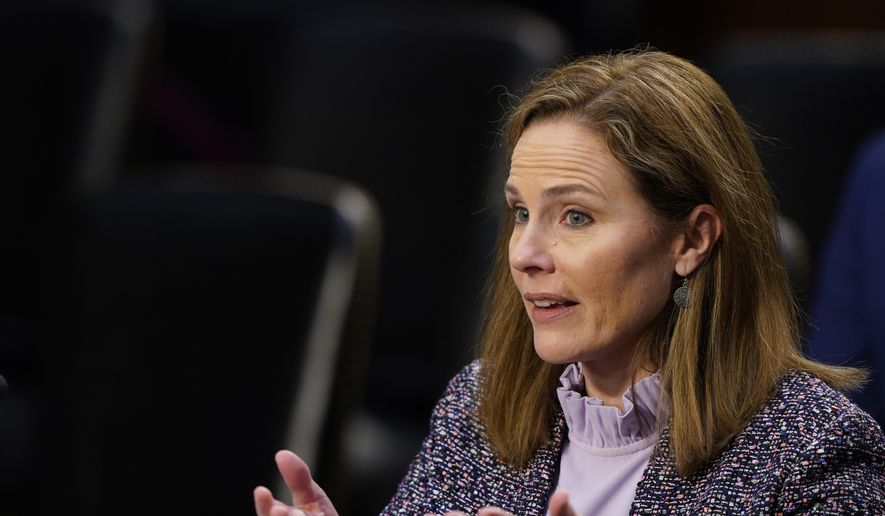 In this Oct. 14, 2020, photo, Supreme Court nominee Amy Coney Barrett speaks during a confirmation hearing before the Senate Judiciary Committee on Capitol Hill in Washington. (AP Photo/Susan Walsh, Pool) ** FILE **