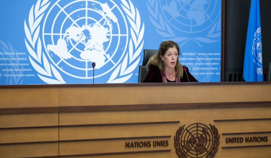 Stephanie Williams, acting special representative of the Secretary-General and head of the United Nations Support Mission in Libya, speaks about the fourth round of the 5+5 Libyan Joint Military Commission, during a press conference at the European headquarters of the United Nations in Geneva, Switzerland, Monday, Oct. 21, 2020. (Martial Trezzini/Keystone via AP)