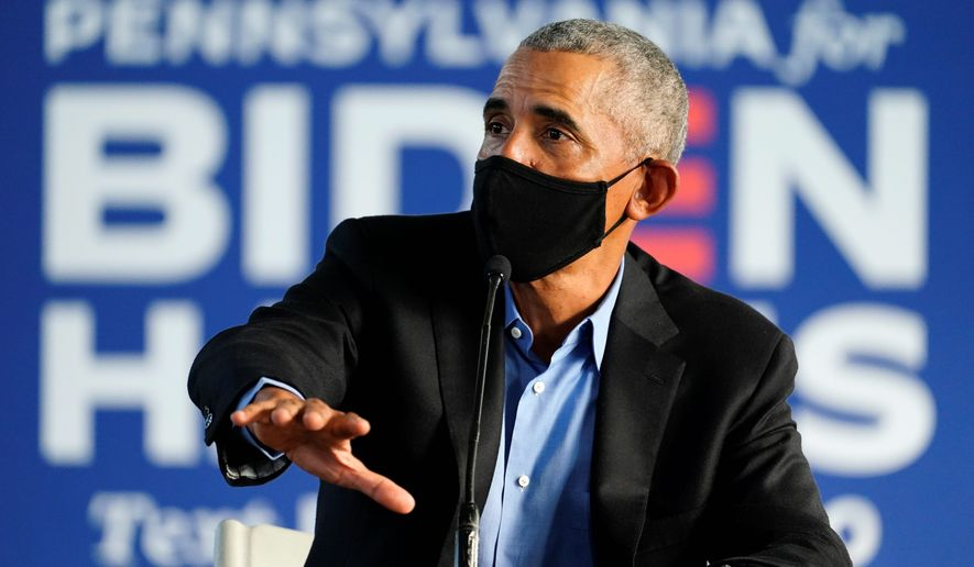 """""""But the things is, this is not a reality show, this is reality,"""" former President Barack Obama said about President Trump. (Associated Press)"""