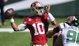 San Francisco 49ers quarterback Jimmy Garoppolo (10) throws a pass during the first half of an NFL football game against the New York Jets, Sunday, Sept. 20, 2020, in East Rutherford, N.J. Garoppolo will face his former Patriots teammates for the first time on Sunday, Oct. 25. (AP Photo/Bill Kostroun)