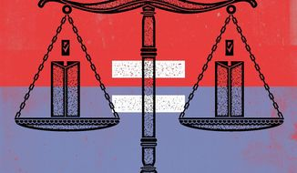 Illustration on fairness and the law by Linas Garsys/The Washington Times