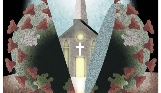 Illustration on returning to church during COVID-19 by Alexander Hunter/The Washington Times