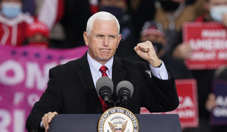 Vice President Mike Pence speaks during a campaign rally in Waterford Township, Mich., Thursday, Oct. 22, 2020. (AP Photo/Carlos Osorio)
