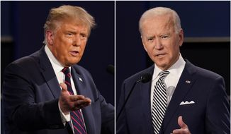 This combination of Sept. 29, 2020, file photos shows President Donald Trump, left, and former Vice President Joe Biden during the first presidential debate at Case Western University and Cleveland Clinic, in Cleveland, Ohio. Trump and Biden have starkly different visions for the international role of the United States — and the presidency.  (AP Photo/Patrick Semansky, File)