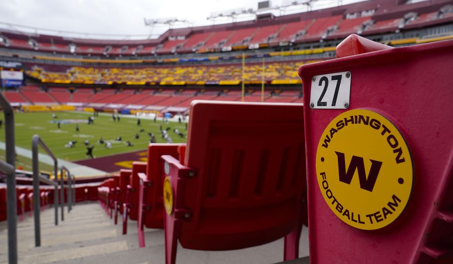 In this Sunday, Sept. 13, 2020, file photo, seats at Fedex Field display the Washington Football Team logo during pregame warmups of an NFL football game between Washington Football Team and Philadelphia Eagles, in Landover, Md. (AP Photo/Susan Walsh, File)