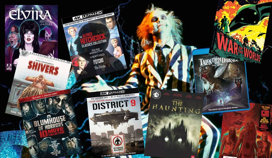 """Best movie releases for Halloween this year include """"Beetlejuice,"""" """"Elvira: Mistress of the Dark,"""" """"The Alfred Hitchcock Classics Collection,"""" """"Vestron Video Collector's Series: Shivers, """"The War of the Worlds,"""" """"Blumhouse of Horrors"""" """"District 9,"""" """"Tales from the Darkside: The Movie (Collector's Edition),""""  """"Paramount Presents: The Haunting,"""" and """"Rob Zombie Trilogy: SteelBook Edition."""""""