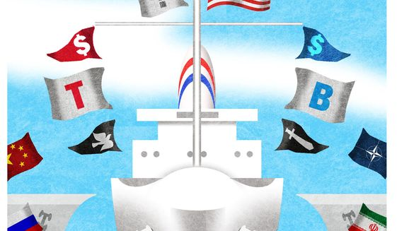 Illustration on the coming role of America in the world by Alexander Hunter/The Washington Times