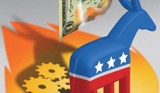 Illustration on Democratic Party campaigning by Linas Garsys/The Washington Times