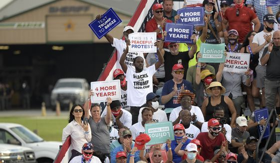 Supporters cheer as President Donald Trump speaks during a campaign rally at the Ocala International Airport, Friday, Oct. 16, 2020, in Ocala, Fla. (AP Photo/Phelan M. Ebenhack)
