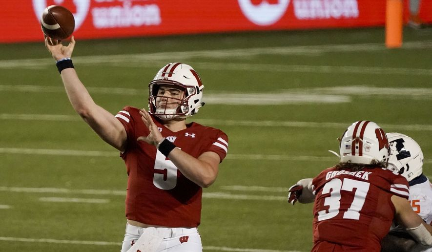 Wisconsin quarterback Graham Mertz throws a pass during the first half of an NCAA college football game against Illinois Friday, Oct. 23, 2020, in Madison, Wis. (AP Photo/Morry Gash)  **FILE**