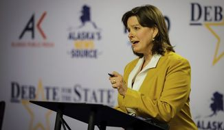Alyse Galvin, an independent running for U.S. House from Alaska, appears during a debate Thursday, Oct. 22, 2020, in Anchorage, Alaska. She is facing incumbent U.S. Rep. Don Young, a Republican, in the general election. (Jeff Chen/Alaska Public Media via AP, Pool)