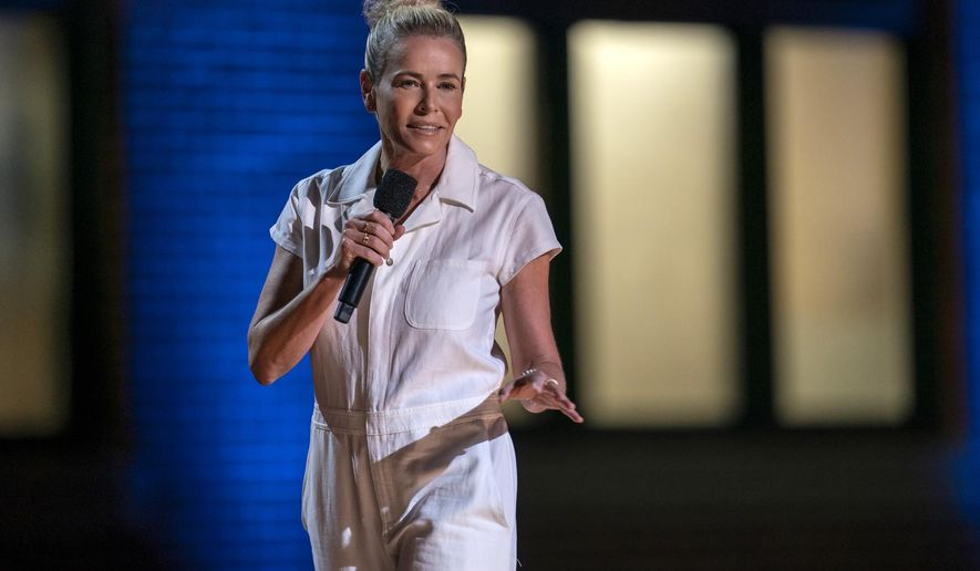"This image released by HBO Max shows Chelsea Hander during her comedy special ""Chelsea Handler: Evolution,"" streaming now. (HBO Max via AP)"
