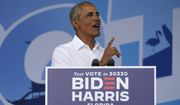 Former President Barack Obama speaks as he campaigns for Democratic presidential candidate former Vice President Joe Biden at Florida International University, Saturday, Oct. 24, 2020, in North Miami, Fla. (AP Photo/Lynne Sladky)