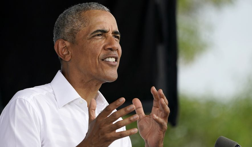 Former President Barack Obama speaks as he campaigns for Democratic presidential candidate former Vice President Joe Biden at Florida International University, Saturday, Oct. 24, 2020, in North Miami, Fla. (AP Photo/Lynne Sladky) **FILE**