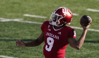 Indiana quarterback Michael Penix Jr. (9) throws during the first half of an NCCAA college football game against Penn State, Saturday, Oct. 24, 2020, in Bloomington, Ind. (AP Photo/Darron Cummings)