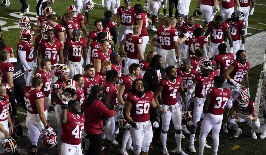 Indiana players celebrate after defeating Penn State in overtime of an NCAA college football game, Saturday, Oct. 24, 2020, in Bloomington, Ind. Indiana won 36-35 in overtime. (AP Photo/Darron Cummings)  **FILE**