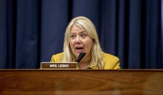 Rep. Debbie Lesko, R-Ariz., speaks as Federal Emergency Management Agency Administrator Peter Gaynor testifies before a House Committee on Homeland Security meeting on Capitol Hill in Washington, Wednesday, July 22, 2020, on the national response to the coronavirus pandemic. (AP Photo/Andrew Harnik, Pool)